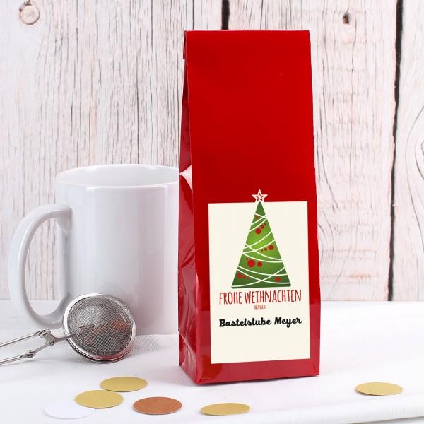 Tee-Geschenk zu Weihnachten mit Firmenlogo