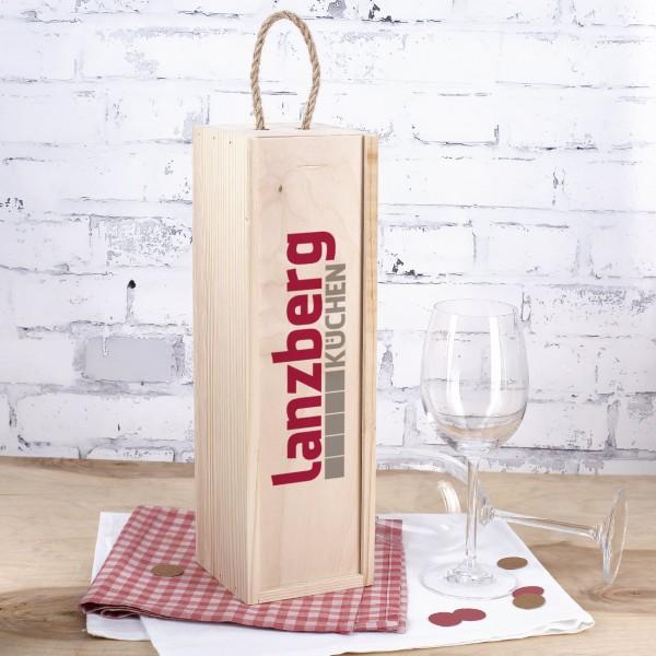Bedruckte Flaschenverpackung aus Holz mit Ihrem Firmenlogo