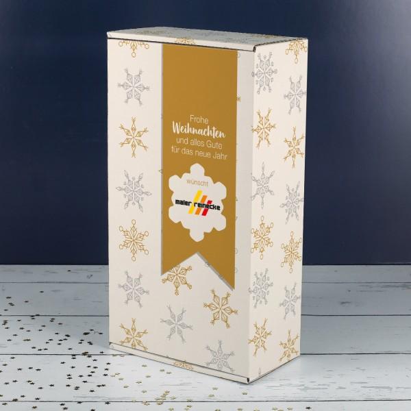 """Geschenkverpackung """"Schneeflocke"""" mit Logo und optional mit Name"""