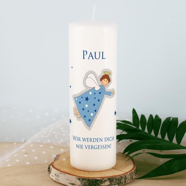 Sternenkind Trauerkerze mit Engel und Name - blau