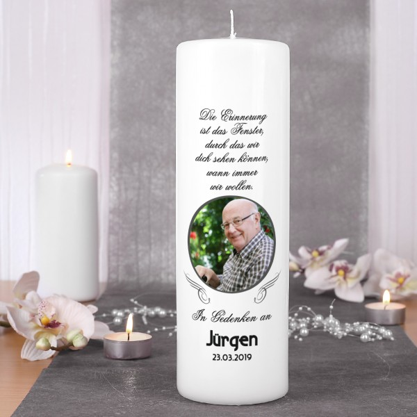 """Personalisierte Trauerkerze mit Foto - """"Die Erinnerung"""""""