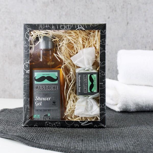 Geschenkset mit Duschgel und Seife - Mustache