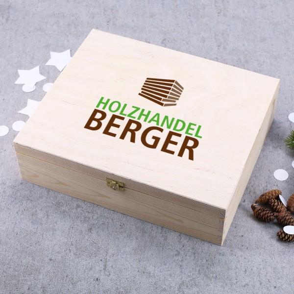 Bedruckte XL Holzbox mit Firmenlogo