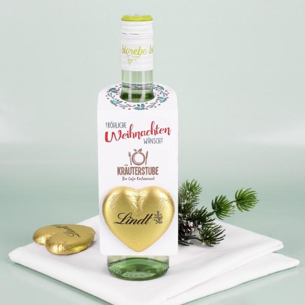 Fröhliche Weihnachten - Flaschenanhänger mit Firmenlogo & Lindt Herz