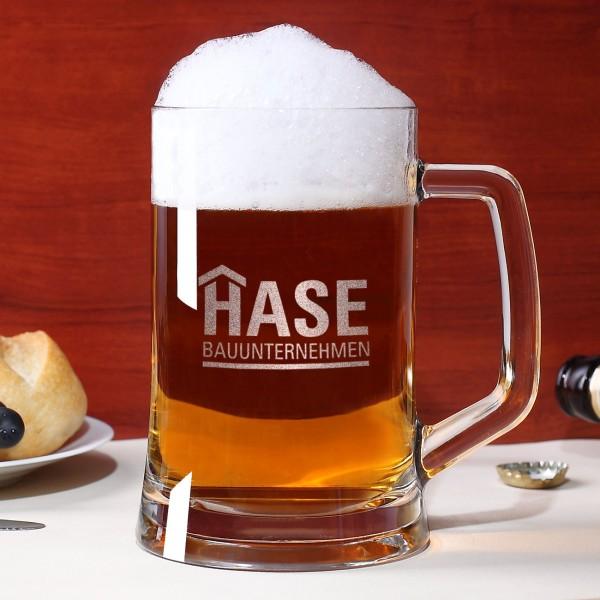 Bierkrug aus Glas mit Logo graviert