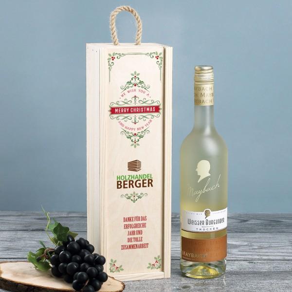 Weihnachtliche Holzbox mit Wein und Firmenlogo bedruckt