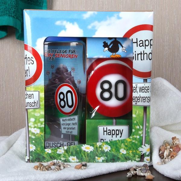 Verkehrszeichen Badset zum 80. Geburtstag