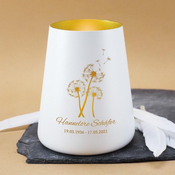 Trauerlicht mit Pusteblumen zur Personalisierung mit Name und Datum
