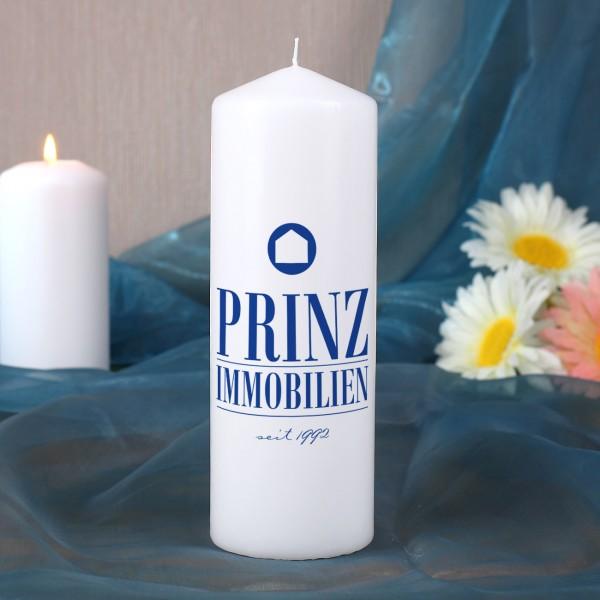 Mittelgroße Kerze, weiß inkl. Druck des Logos