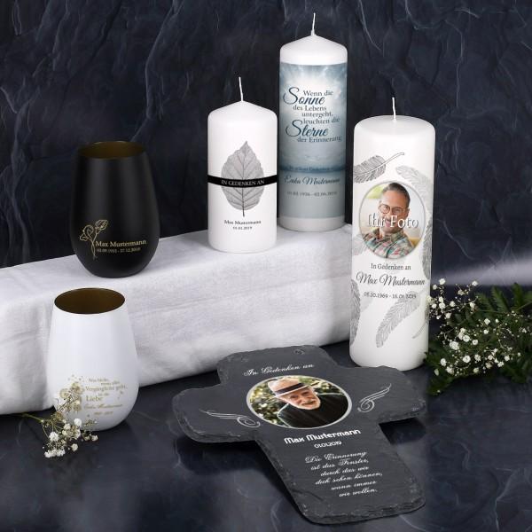 Großes Musterpaket - Windlichter, Kerzen und Schieferkreuz