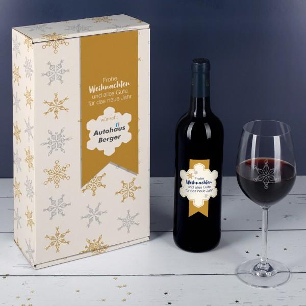 Weihnachtliches Geschenkset mit Schneeflocken und Ihrem Firmenlogo