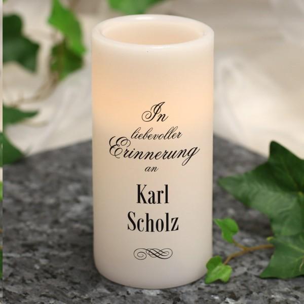"""LED Gedenkkerze mit Name """"In liebevoller Erinnerung"""""""