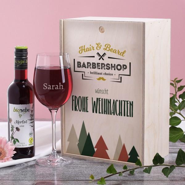 Geschenkset zu Weihnachten mit Holzbox, Weinglas und Wein