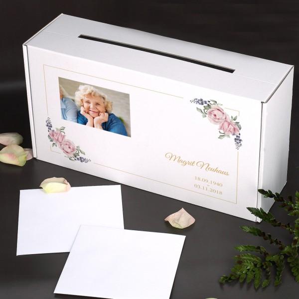 Sammelbox für Trauerkarten mit Foto des Verstorbenen