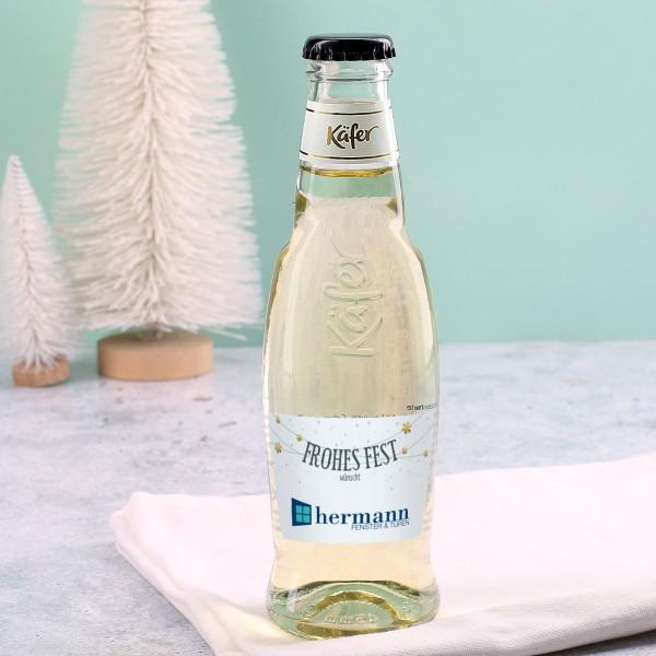 Weihnachtsgeschenke B2b.Kleine Seccoflasche Frohes Fest Mit Firmenlogo