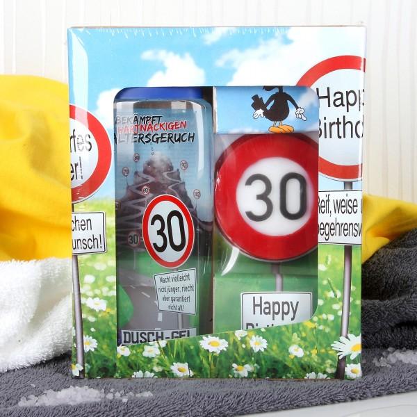 Verkehrszeichen Badset zum 30. Geburtstag