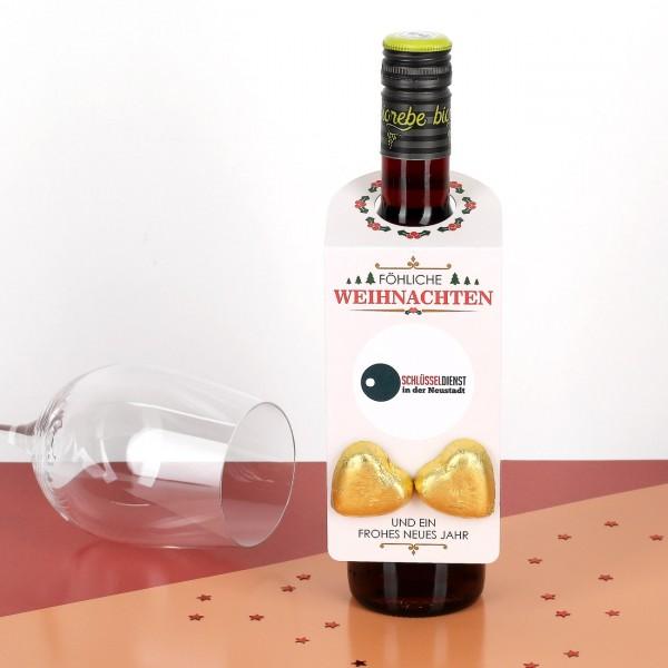 Flaschenanhänger zu Weihnachten mit Firmenlogo und Lindt Herzen