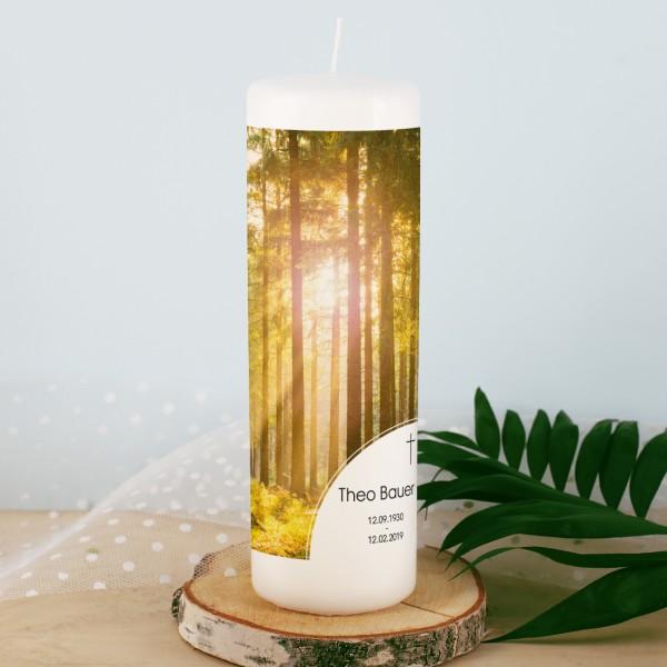 Kerze zum Gedenken mit Name - Wald