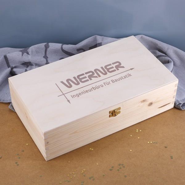 Holzbox für zwei Flaschen inkl. Gravur des Logos