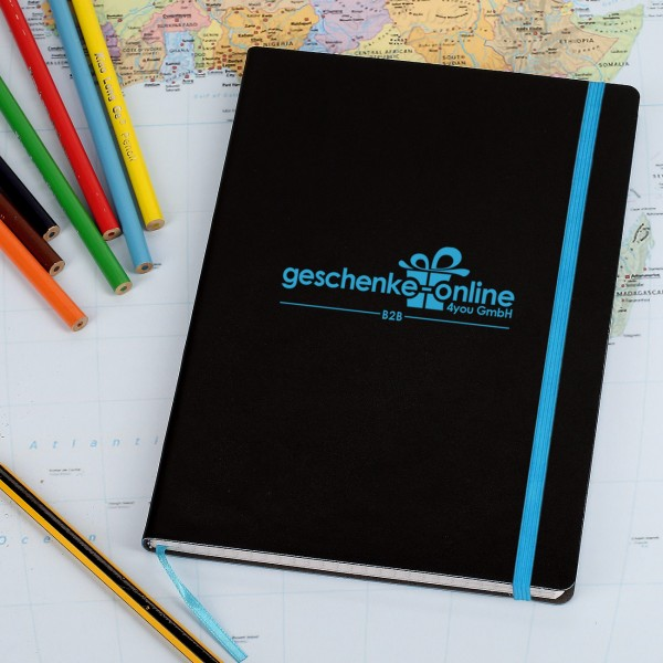Notizbuch mit Firmenlogo graviert in blau oder rot