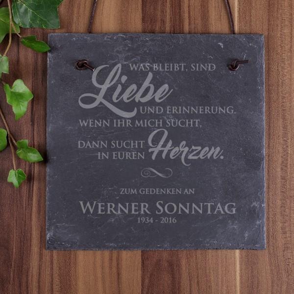 """Schiefer-Gedenktafel """"Was bleibt, sind Liebe und Erinnerung"""""""