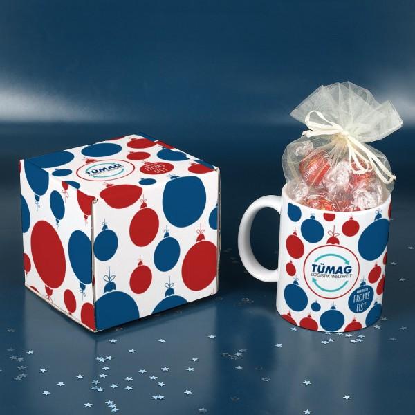 Tassen-Geschenkset zu Weihnachten mit Lindor-Kugeln