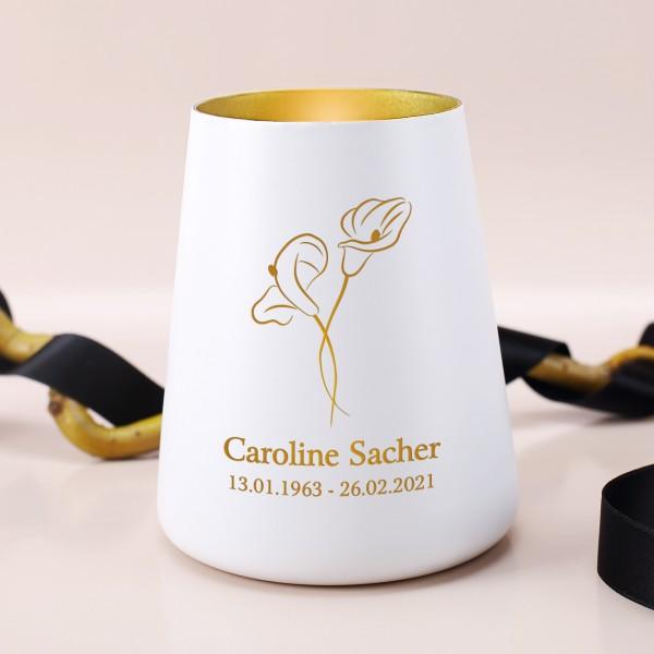 Trauerlicht mit zwei Callas und Namens- und Datum Gravur