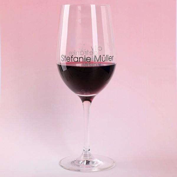 Leonardo Weinglas mit Logo und Name bedruckt