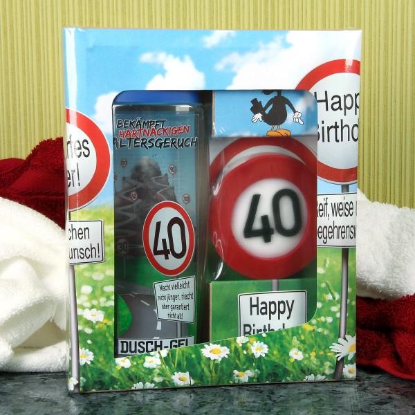 Verkehrszeichen Badset zum 40. Geburtstag
