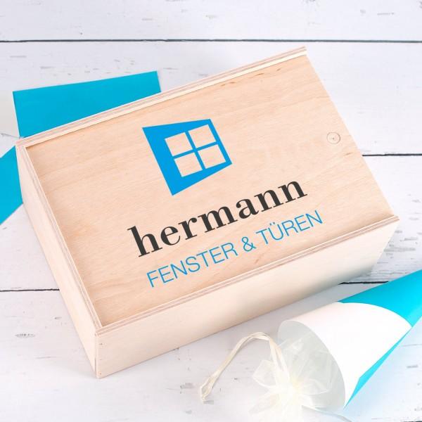 Holzbox mit Schiebedeckel und Ihrem Logo bedruckt