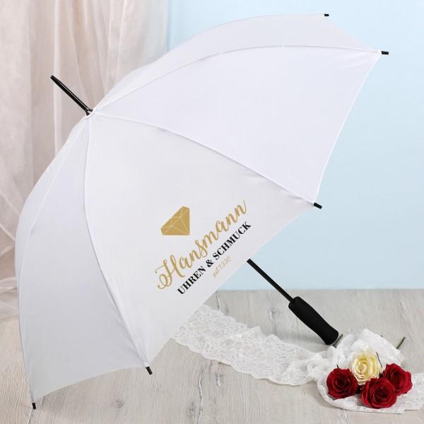 Weißer Regenschirm mit Firmenlogo bedruckt