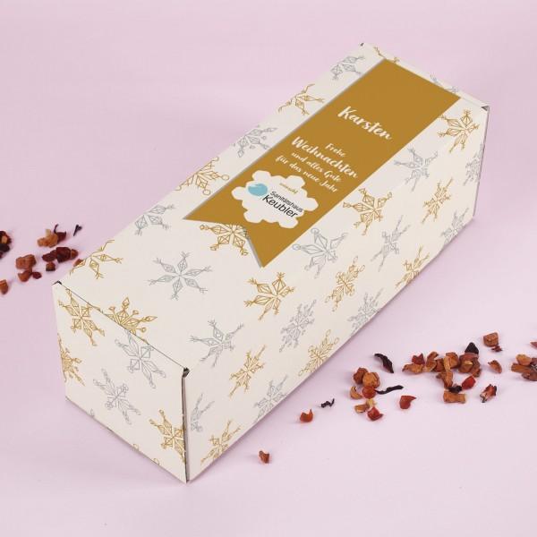Geschenkverpackung mit Schneesternenmotiv, Firmenlogo und optional Name