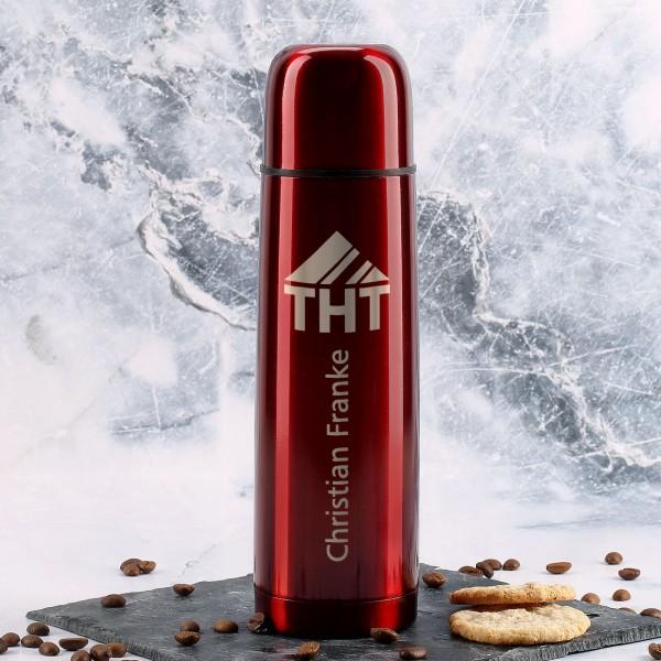 rote Thermosflasche mit Name und Firmenlogo