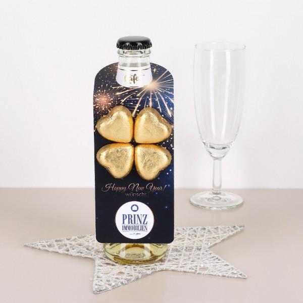Flaschenanhänger mit Firmenlogo - Feuerwerk