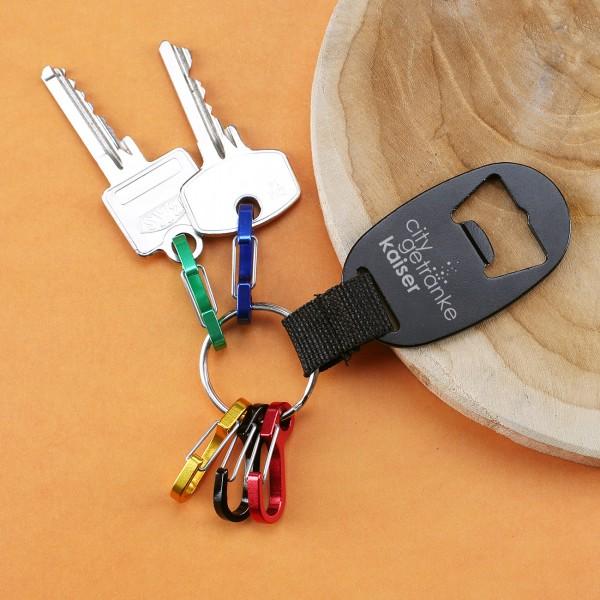 Schlüsselanhänger mit Logo-Gravur inkl. Flaschenöffner und Karabinerhaken