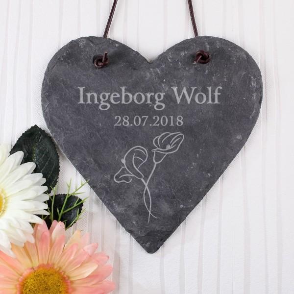 Gedenktafel mit Calla Blumen und Name