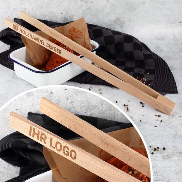 Grillzange aus Holz mit Firmenlogo graviert