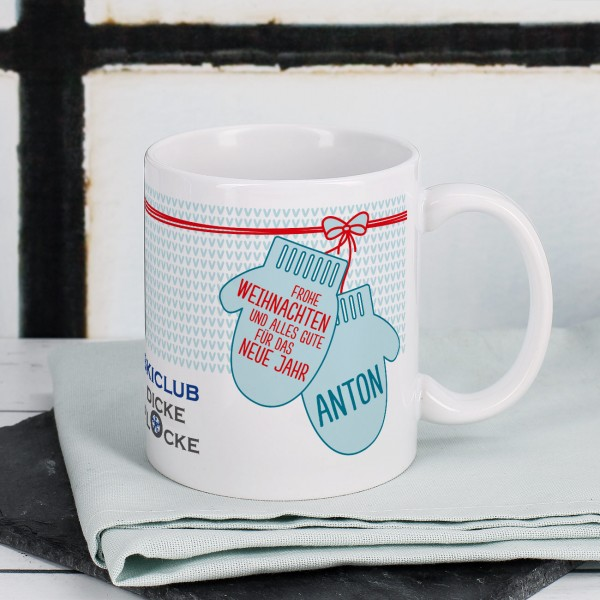 Weihnachtliche Tasse mit Handschuhen, Firmenlogo und optional Personalisierung