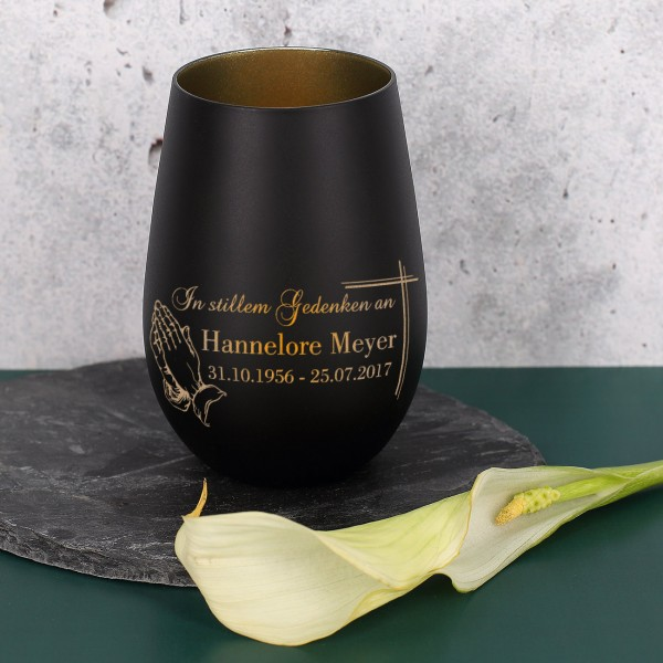 """Trauer-Teelicht """"In stillem Gedenken"""" mit betenden Händen und Name"""