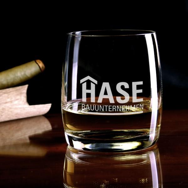 Trinkglas mit Logo graviert