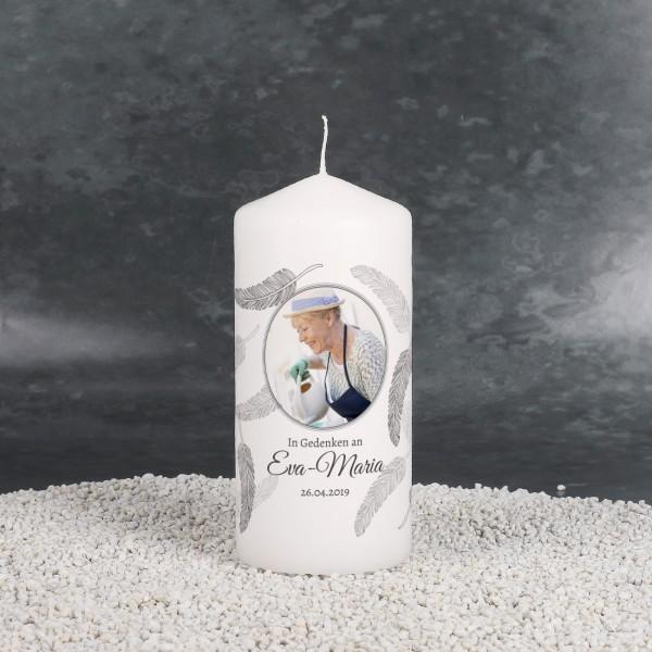 Kleine Trauerkerze mit Foto und Federn