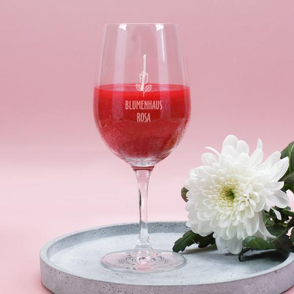 "Duftkerze ""Romance"" im Leonardo Weinglas mit Logo Gravur"