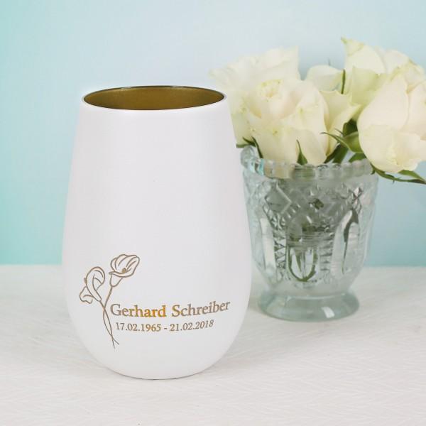 Weißes Trauer-Windlicht mit Calla Blume und Name