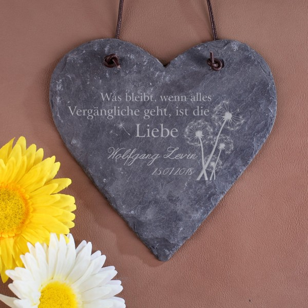 Schieferherz - Was bleibt ist die Liebe - mit Name und Datum