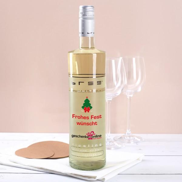Weißweinflasche bedruckt mit Firmenlogo