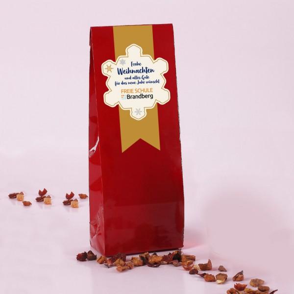 Weihnachtliches Tee-Geschenk mit Schneestern und Firmenlogo
