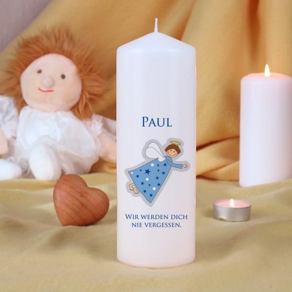 Sternenkinder-Kerze mit Engel und Name - blau