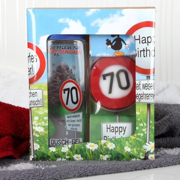 Verkehrszeichen Badset zum 70. Geburtstag