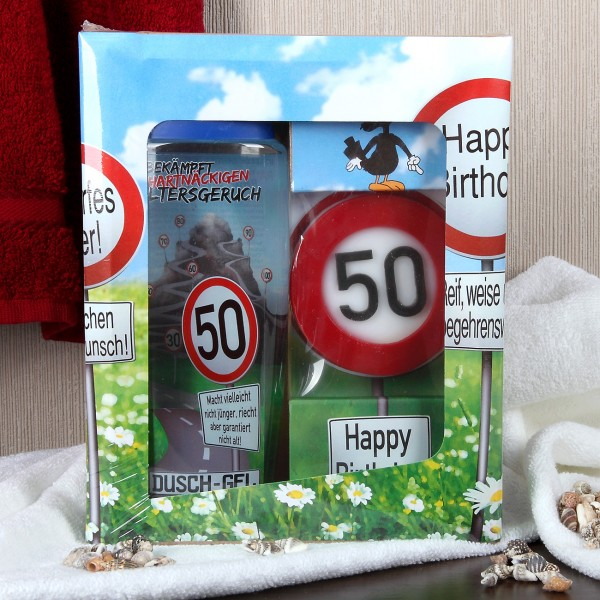 Verkehrszeichen Badset zum 50. Geburtstag