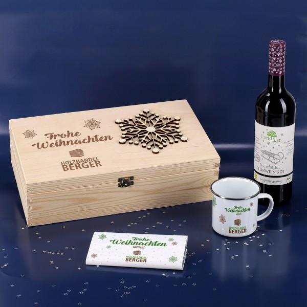 Firmengeschenke Weihnachten.Weihnachtliches Geschenkset Mit Glühwein Tasse Und Schokolade